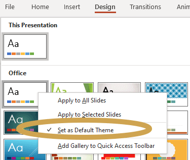 Set your template theme as your default theme