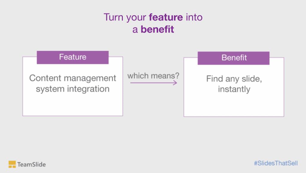 Convert features into benefits