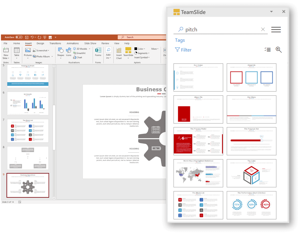 Microsoft PowerPoint add-in for slide management and search