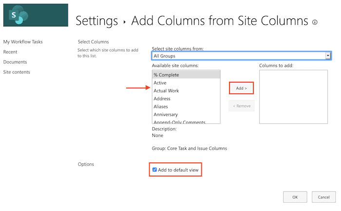 steps to add columns from site columns in SharePoint