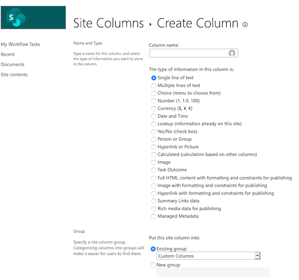 Create site column name in SharePoint