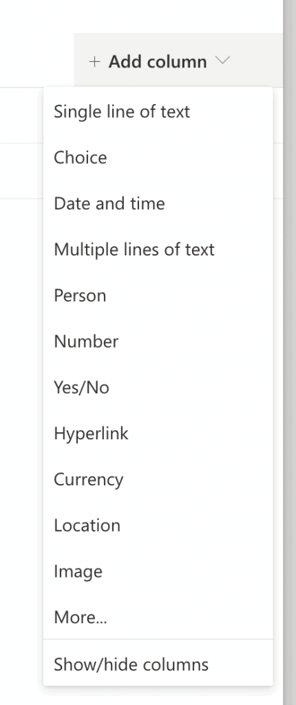 Types of columns in SharePoint