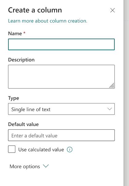 column setting options in SharePoint